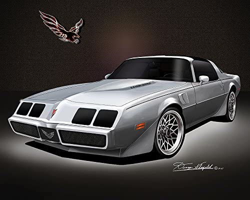 pontiac car art firebird gift Trans am art Pontiac Firebird Trans Am 1979 to 1981 Poster  Red And Gold auto print