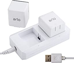 Charging Station for Arlo Batteries Dual Fast Arlo Charger for Arlo Pro & Arlo Pro 2 & Arlo Go & Arlo Security Light VMA4410 Fireproof Material with USB Cable