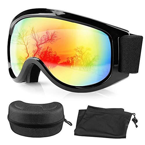 Migimi Skibrille, Ski Goggles UV Schutz Brillenträger Snowboard Brille, OTG Anti-Fog Anti-Schwindel Helmkompatible Augenschutz Skifahren Schutzbrille für Frauen Herren Jugend - Rot