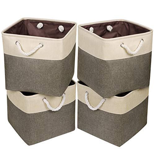 Univivi Foldable Storage Bin 4-Pack Collapsible Cube Storage Basket with Sturdy Cotton Carry Handles for Shelf Closet Nursery Home Office Organizing Brown 13 inch