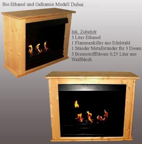 Ethanol und Gelkamin - Modell Dubai Natur - aus Fichtenholz