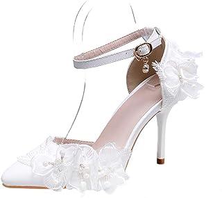 MGW Femmes Chaussures de mariée Bout fermé Talon Aiguille Escarpins Dentelle Perle de Chaussures de Mariage Chaussures de ...
