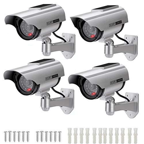 AlfaView Telecamera Finta Telecamera di Proiettile Alimentata a Energia Solare Telecamera CCTV di Sicurezza con LED Lampeggiante per Interni da Casa