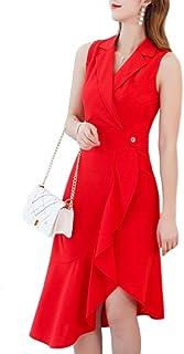 [PlaisteL] トレンチ風 ロング ワンピース レディース 襟付き フォーマル カジュアル ドレス 大きいサイズ 黒 赤