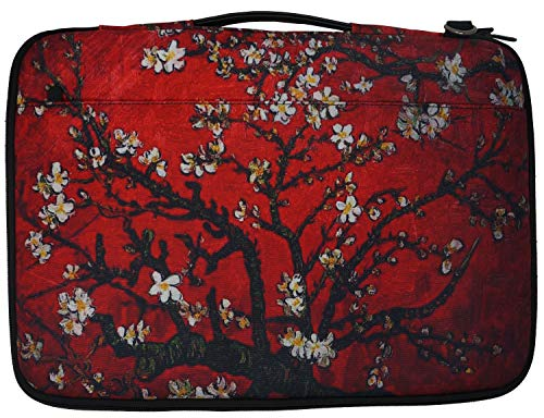 Meffort Inc 14-15.6 Inch Printed Canvas Laptop Sleeve Protective Case, Compatible with Ultrabook Notebook Asus Acer Lenovo Dell HP Toshiba Computers - Van Gogh Cherry Blossom