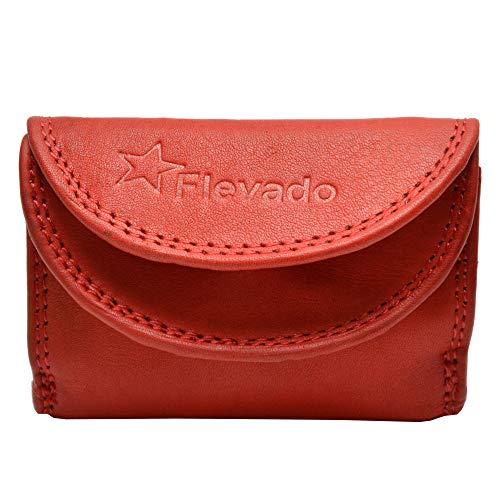 flevado Kleine handliche Party Disco Geldbörse in Mehreren Farben Lifestyle mit RFID Schutz (rot)