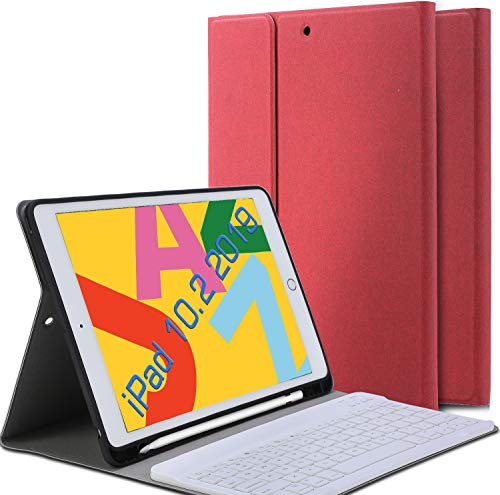 Ferilinso Bluetooth Case for iPad 10.2 2019 Keyboard Case iPad 7th Generation,Detachable Wireless Keyboard Leather Case with Pencil Holder Cover Auto Wake/Sleep Case-Red