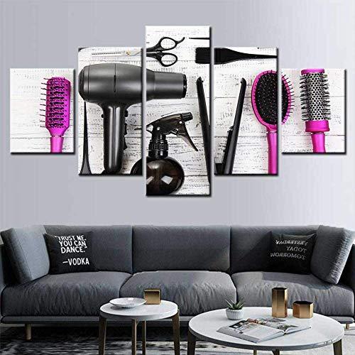 DGGDVP Modern canvas schilderij 5 stuks kapper gereedschap schaar kam schilderij druk kapper beauty salon muurkunst poster 30x40cmx2 30x60cmx2 30x80cmx1 Geen frame.