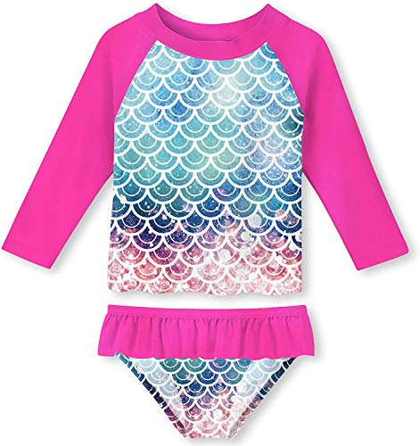 UNIFACO Girl Rash Guard Fish Scale Two Pieces Red Swimsuit Beach Swimming Pool Novelty Tankini with UPF 50+ Sun Protection