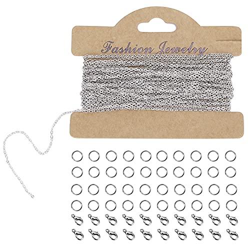 LUOGE Collana con 33 piedi placcata in argento, con 20 chiusure a forma di cavallo, 40 anelli, catena in acciaio inox per gioielli fai da te, argento (1,5 mm)