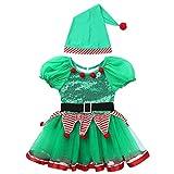 dPois Disfraz de Elfo Ayudante Niña Vestido de Duende Mangas Cortas Maillot Tutú Lentejuelas y Sombrero Traje de Santa Claus Ropa Navideña Verde 10 Años