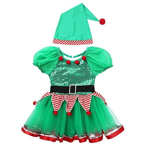 dPois Disfraz de Elfo Ayudante Nia Vestido de Duende Mangas Cortas Maillot Tut Lentejuelas y Sombrero Traje de Santa Claus Ropa Navidea Verde 2 Aos