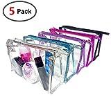 Waterproof Cosmetic Bag,Vinyl Zippered Wash Bag Vacation, Bathroom and Organizing Bag Travel Set 5 Pcs