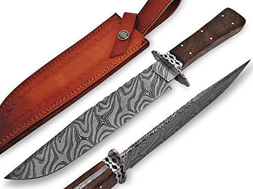 Knife King Custom Damast Bowie Messer Jagdmesser Mit Lederscheide