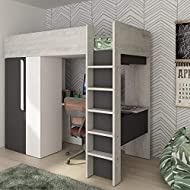 happybeds Wooden High Sleeper, Mont Blanc Grey and White Kids Sleeper with Wardrobe and Desk Europea...