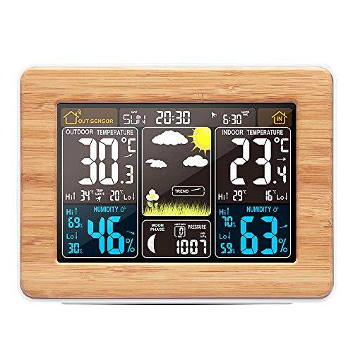 HITECHLIFE Estación Meteorológica Multifuncional, Reloj Despertador Digital Inalámbrico, Barómetro, Monitor de Temperatura, Humedad, Pronóstico del Tiempo para El Jardín de Casa (Sin Sensor) Amarillo