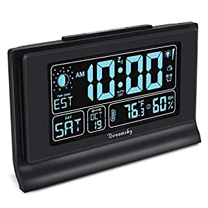 "DreamSky Auto Set Alarm Clock with USB Charging Ports, 6"" Large Display with Indoor Temperature & Humidity, Date/Day & Moon Phase, Brightness Dimmer, Auto DST, Backup Battery"