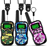 OUNUO Walkie Talkie para niños 3pcs, 8 Canales Radio de 2 vías, Juguetes, Linterna LCD retroiluminada, Rango de 3 Millas para Actividades Infantiles, con 3 Cordones