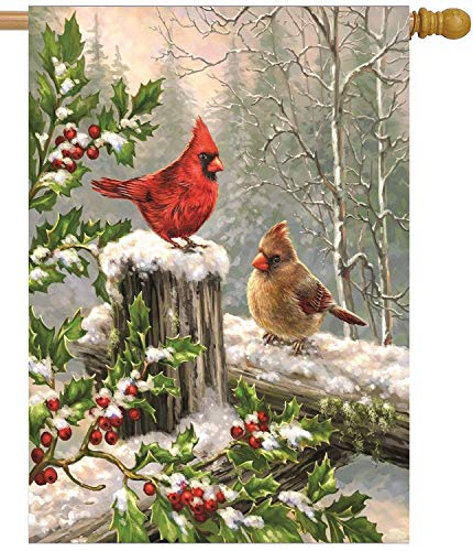 Wamika Spring House Flags 28 x 40 Double Sided, Cardinal Red Bird Holly Berry Branches Snow Welcome Winter Holiday Yard Outdoor Garden Flag Banner for Party Home Christmas Decorations
