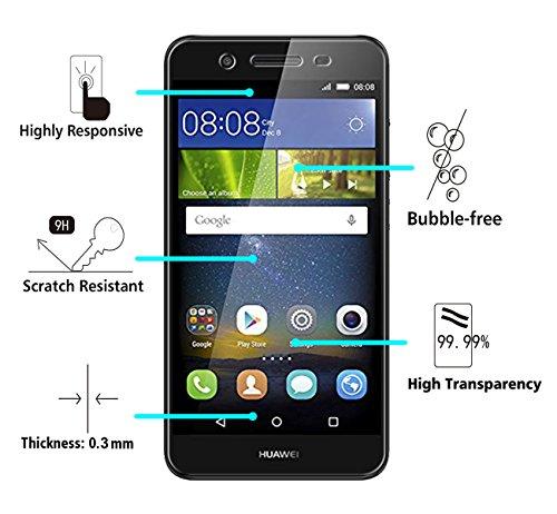 iVoler [2 Stücke] Huawei P8 Lite Smart Panzerglas Schutzfolie [9H Härte] [Anti- Kratzer] [Bläschenfrei] [2.5D Runde Kante] - 2