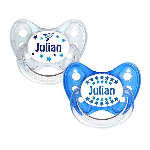 Dentistar® Silikon Schnuller 2er Set inkl. 2 Schutzkappen - Nuckel Silikon in Größe 2-6-14 Monate - zahnfreundlich & kiefergerecht - Beruhigungssauger für Babys - Made in Germany - BPA frei - Julian