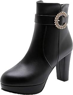 JOJONUNU Women Fashion Platform Boots Block High Heels Zip
