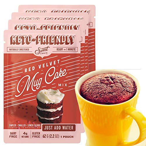 SWEET LOGIC Just Add Water Keto Mug Cake Mix | 4g Net Carbs, One Minute Easy Keto Baking | Sugar Free Gluten Free Keto Baking Dessert Naturally Sweetened | 4 Pack (Red Velvet)