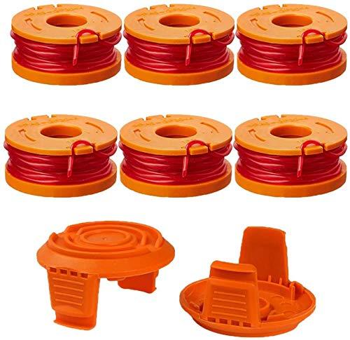 WA0004.1 Fadenspule Rasentrimmermesser für WORX 20V Kantenschneider WG163E WG184E - Langlebige Ersatzfaden Spulen für Verbesserte Schneidgeschwindigkeit-Ø 1,65mm(6 Pack Spule und 2 Pack Kappe)