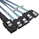 CableDeconn SFF8087 Mini SAS 36 Pin männlich W/Latch to SATA 7-polig weiblich (X4) Forward Breakout Kabel (8087 bis 4sata 0,75 m)