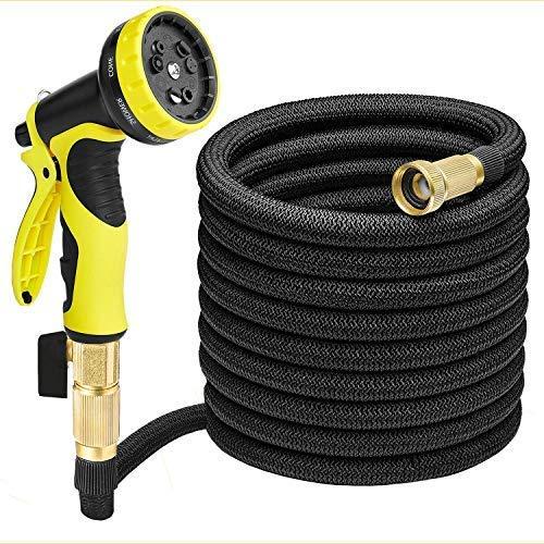 LUOSI Flexible Manguera de Jardín 30m Manguera de Agua Extensible Tubo de Agua + 9 Modos Diferentes para Limpieza Pistola de Riego (30m)