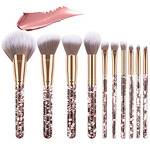 Emibele 10 Stück Kristall Make up Pinsel Set, Professionelle Makeup Pinselset Pulver Flüssige Creme Synthetische Pinsel mit Aufbewahrungstasche, Kosmetikpinsel für Maskenbildner & Anfänger - Gold