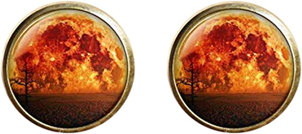 Death Devil Art Picture Cuff Links,Gift of Love,Blood Moon Cuff Links