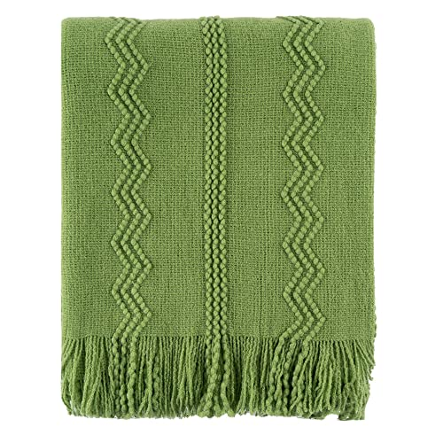 """BATTILO HOME Knit Throw Blanket Soft Lightweight Textured Decorative Blanket with Tassel for Bed, Couch (Green, 50""""x60"""")"""