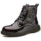 Zapatos de invierno Martin de cuero genuino unisex Zapatos de pareja de motocicleta impermeables británicos Wine red 38