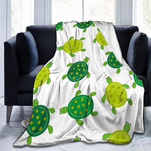 Chickwin Flanelldecke Kuscheldecke, Super Soft Weiche 3D Drucken Wohndecke Warm Flauschige Decke TV-Decke Mikrofaserdecke Sofadecke oder Bettüberwurf Tagesdecke (Grüne Schildkröte,150x200cm)