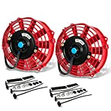 7 inch auto cooling fan - (Pack of 2) 7 Inch High Performance 12V Electric Slim Radiator Cooling Fan w/Mounting Kit - Red