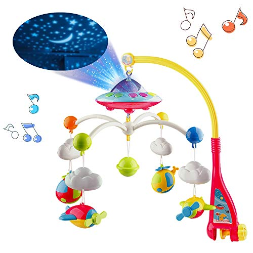 Mini Tudou Musical Baby Crib Mobile Toy with Lights and Music, Star Projector Function and Cartoon Rattles, Remote Control Musical Box with 108 Melodies, Toy for Newborn Sleep ...