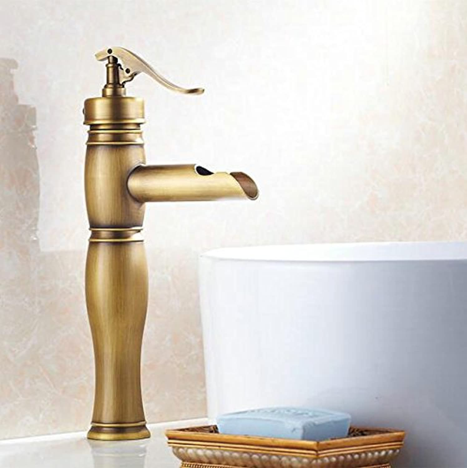 Makej Makej Antique Brass Deck Mounted Bathroom Kitchen Sink Faucet Mixer Taps Vanity Faucet Tap