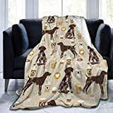 Novelty Flannel Throw Blanket, German Shorthair Pointer Dog Breed Custom Pet Coffee Lover Blankets for All Seasons, Washable Air Conditioning Blanket 50'X40'
