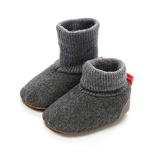 Z-T FUTURE Unisex Baby Winter Shoes Girls Boys Elastic Cute Crochet Snow Boots Toddler Girl Crib Shoes 0-18 Months (12cm (6-12 Months), Z-DK-Grey)