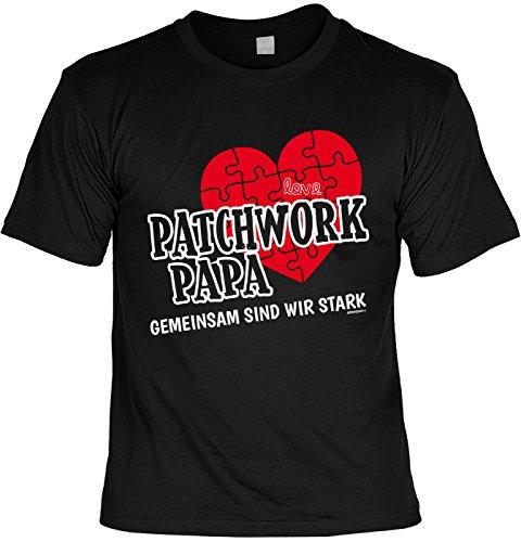 Cooles Unisex/Herren T-Shirt mit super Vatertag Motiv: Patchwork Papa Gemeinsam sind wir stark - Farbe: schwarz