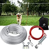 Snagle Paw Dog Tie Out Runner for Yard,Trolley System for Large Dogs,Heavy Duty Dog Run Cable with 10ft Pulley Runner Line for Dogs Up to 125lbs,Yard or Camping,100ft