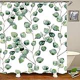 Hiser Duschvorhang Hohe Qualität PolyesterWasserdicht Anti-Schimmel Anti-Bakteriell 3D Drucken mit C-Form 12 Ringe Kunststoff Haken Bad Vorhang für Badzimmer (Grünes Blatt,120x180cm)