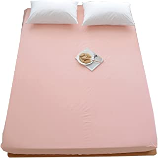 OTOB 100% Cotton Solid Children Fitted Sheets Soft Single Deep Fitted Bed Sheet Twin Full Queen Size (Twin, Pink)