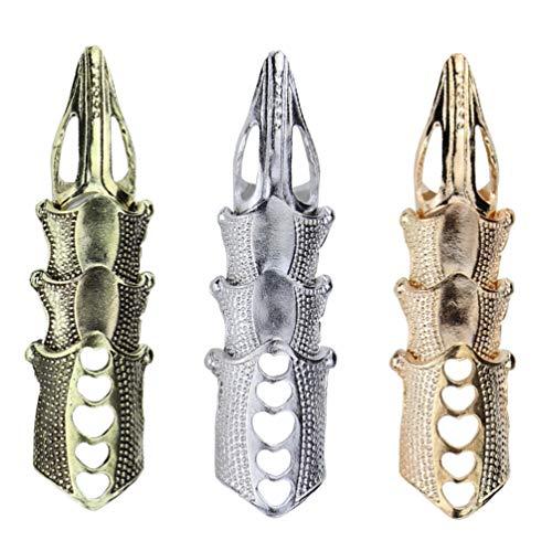PIXNOR 3 anillos dobles para hombre con articulación completa para el dedo, punk, águila, armadura, actividad, anillo gótico, rock, punk, carnaval, cosplay, joyas para mujeres y niñas