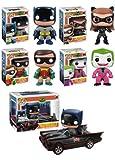 Funko POP! Heroes: 1966 Batman Complete Set of All 5 Figures Including The Batmobile 2-Pack