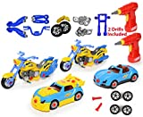 Take Apart Racing CAR & MOTORCYCLE Toys - Build Your Own Toy with 52 Piece Constructions Set - Both Car & Motorcycle Comes With Engine Sounds & Lights & Drill With Toy Tools For Kids