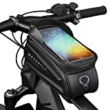 WATERFLY Large Bike Frame Bag Waterproof Bike Front Tube Handlebar Bag Bicycle Bag with Touch Screen Phone Case Fit 7.0''