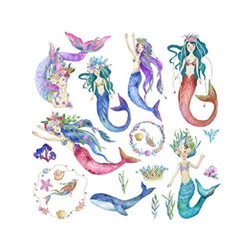 VOSAREA Meerjungfrau Wandaufkleber Cartoon Prinzessin Wandtattoos Kinderzimmer Aufkleber Hause Wanddekoration