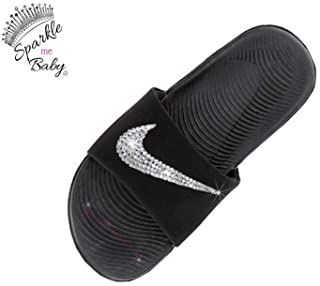 Nike Slide Kawa Women's Black Swarovski Bedazzled Shoes Bling Nike Customized for you by Sparkle Me Baby 2U